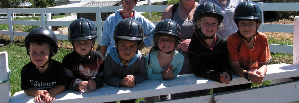 Ruapehu Homestead children with helmets picture